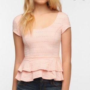 Lucca Couture Pink Peplum Top Scoop Neck & Back